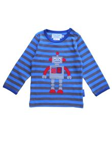 Toby Tiger Baby Boys Robot Applique T-Shirt