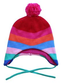 Toby Tiger Baby Girls Bold Multi Stripe Knitted Hat