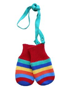 Toby Tiger Kids Bold Multi Stripe Knitted Mittens