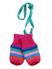 Toby Tiger Baby Girls Multi Stripe Knitted Mittens