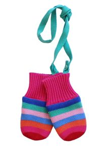 Toby Tiger Girls Multi Stripe Knitted Mittens