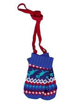 Toby Tiger Baby Boys Dino Knitted Mittens
