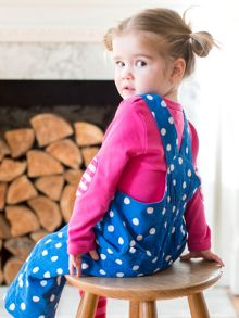 Toby Tiger Baby Girls Blue Dot Dungarees