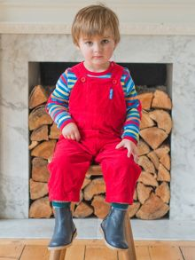 Toby Tiger Baby Red Dungarees