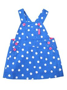 Toby Tiger Girls Blue Dot Dungaree Dress
