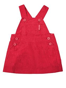 Girls Red Dungaree Dress