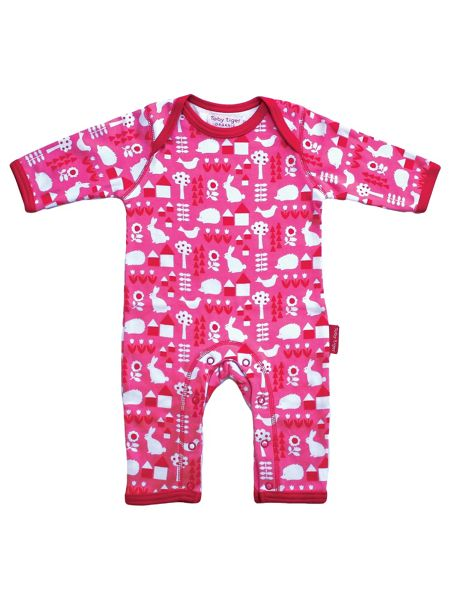 Toby Tiger Baby Girls Garden Sleepsuit