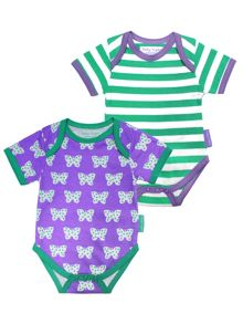 Toby Tiger Baby Girls Dot Flower Baby T-Shirt 2 Pack