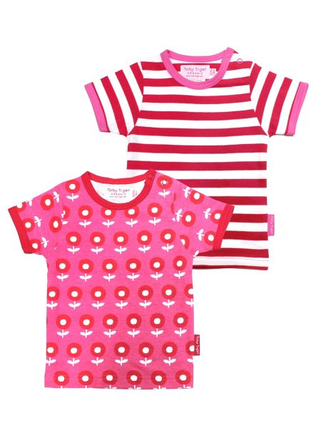 Toby Tiger Baby Girls Dot Flower T-Shirt 2 Pack