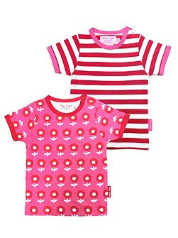 Girls Dot Flower T-Shirt 2 Pack