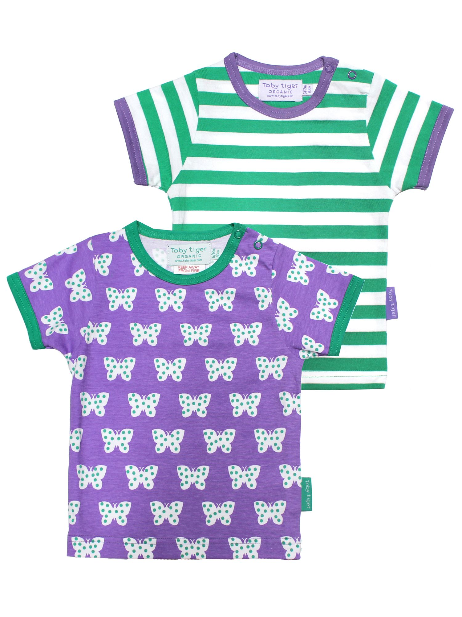 Toby Tiger Toby Tiger Girls Butterfly T-Shirt 2 Pack, Multi-Coloured