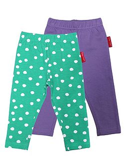 Girls Green And Purple Leggings 2 Pack