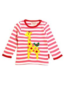 Toby Tiger Girls Giraffe And Bird T-Shirt