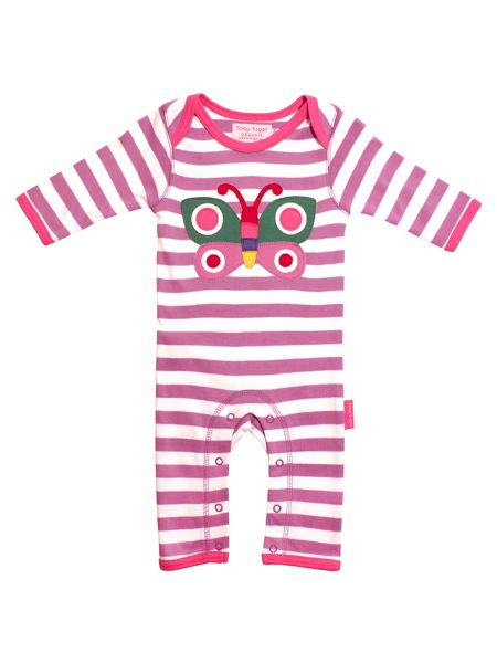 Toby Tiger Baby Girls Butterfly Sleepsuit