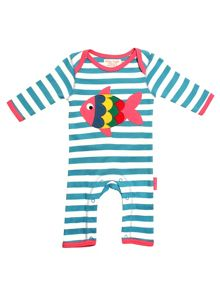 Toby Tiger Baby Girls Fish Sleepsuit