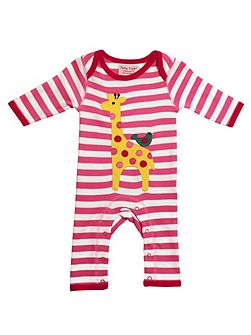 Baby Girls Giraffe And Bird Sleepsuit