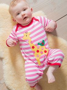 Toby Tiger Baby Girls Giraffe And Bird Sleepsuit