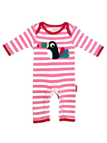 Toby Tiger Baby Girls Toucan Sleepsuit