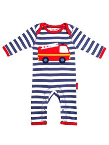 Toby Tiger Baby Boys Fire Engine Sleepsuit