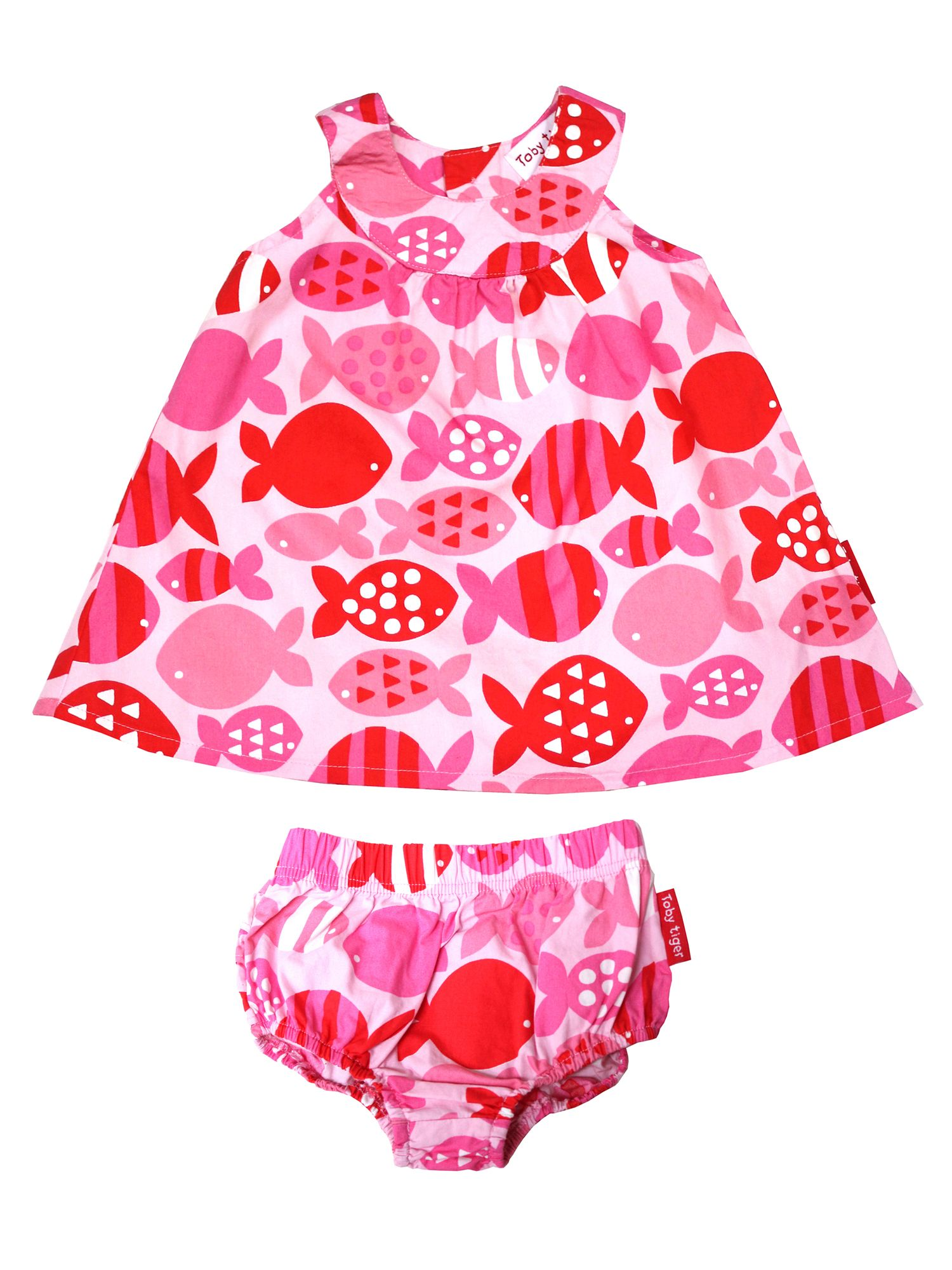 Toby Tiger Toby Tiger Baby Girls Fish Baby Dress, Pink
