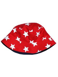 Toby Tiger Babies Red Star Reversible Sun Hat