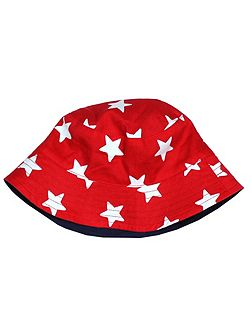 Kids Red Star Reversible Sun Hat