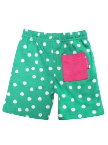 Toby Tiger Baby Girls Green And White Dot Shorts