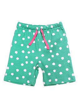 Girls Green And White Dot Shorts