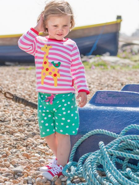 Toby Tiger Girls Green And White Dot Shorts