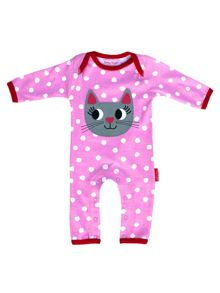 Toby Tiger Girls Organic Cotton Cat Sleepsuit