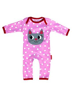 Girls Organic Cotton Cat Sleepsuit