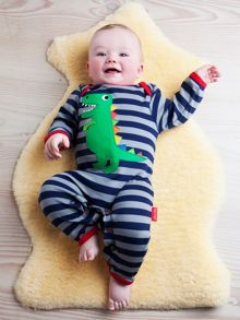 Toby Tiger Organic Cotton Trex Sleepsuit