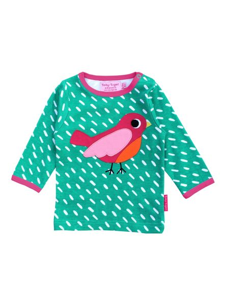 Toby Tiger Girls Organic Cotton Bird T-Shirt