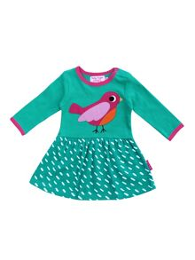 Toby Tiger Girls Organic Cotton Bird Twirl Dress