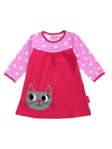 Toby Tiger Girls Organic Cotton Cat T-Shirt Dress