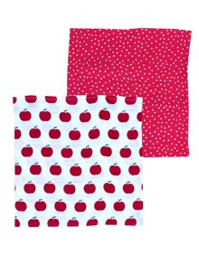 Toby Tiger Apple-Print Organic Cotton Muslin 2 Pack