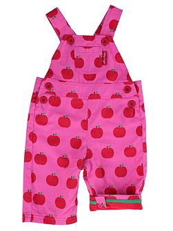 Girls Apple-Print Cotton Dunagarees