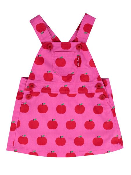 Toby Tiger Girls Apple-Print Cotton Dunagarees