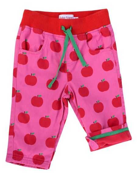 Toby Tiger Girls Apple-Print Cotton Trousers