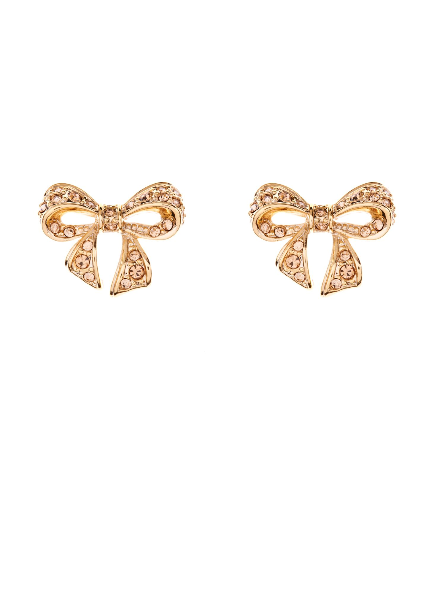 Pave crystal small bow earring