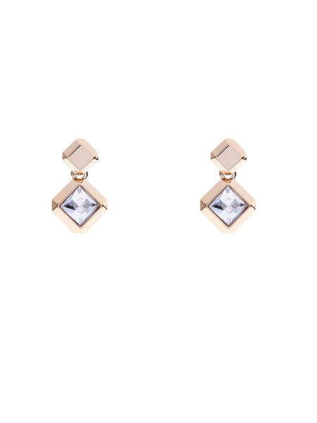 Karen Millen Geometric crystal drop earrings