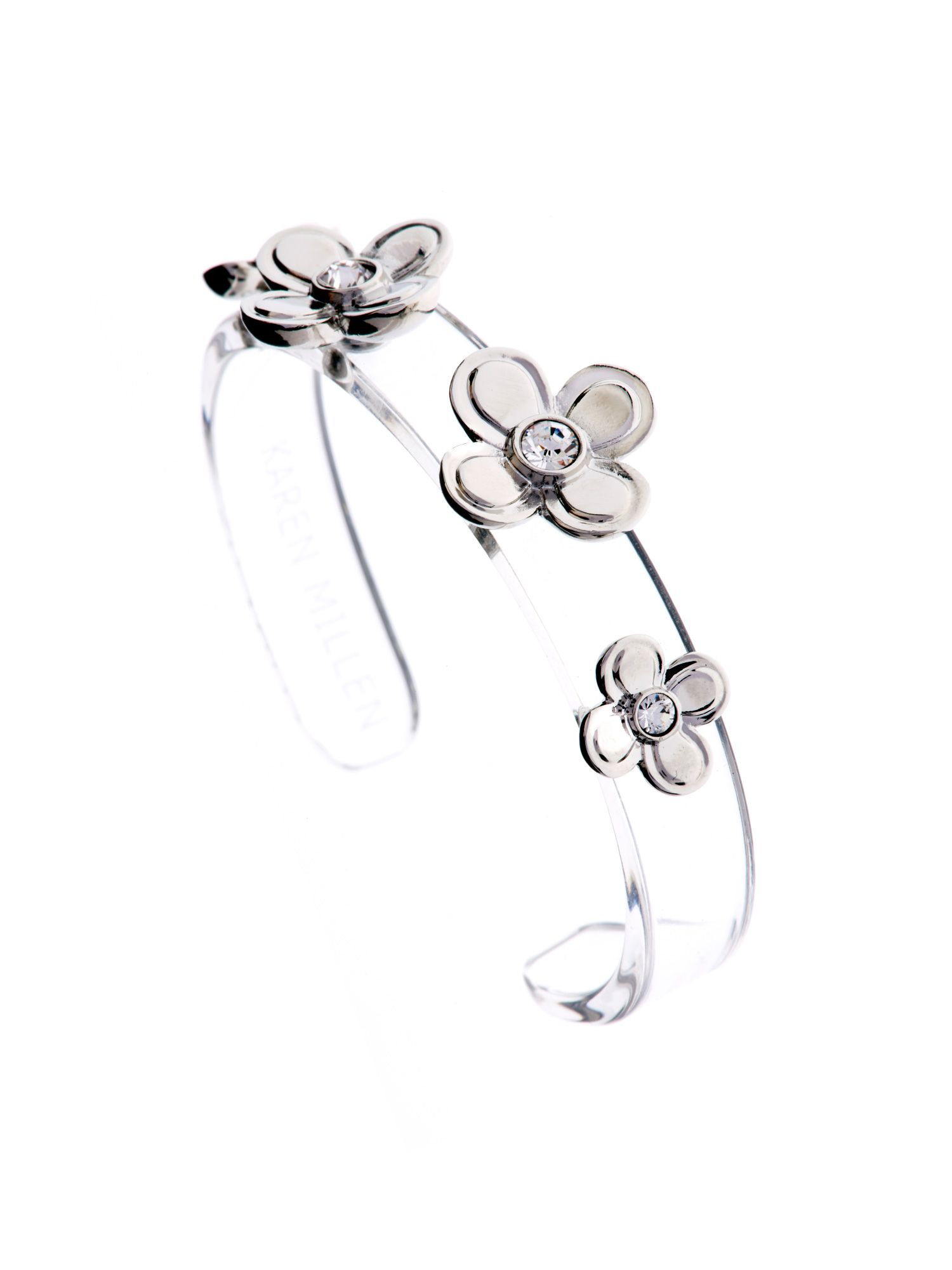 Narrow acrylic flower cuff