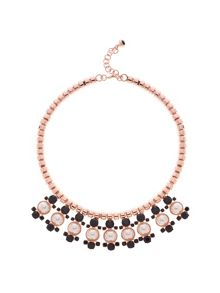 Orah Rose Gold & Black Pearl Cluster Necklace