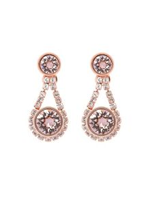 Ted Baker Stormm Rose Gold & Pink Crystal Chain Drop Earrin