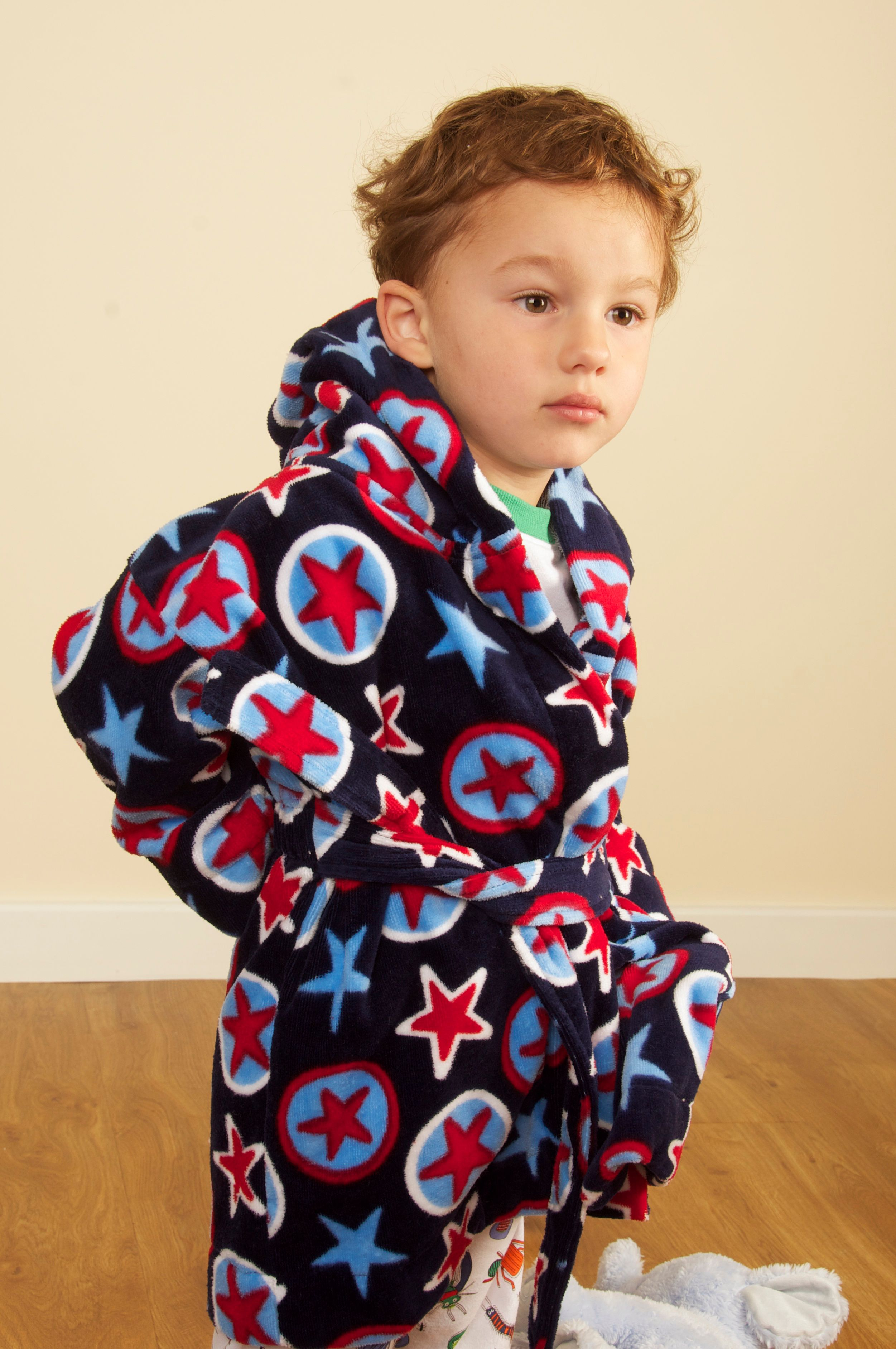 Boy`s Hooded Cotton Velour Printed Robe