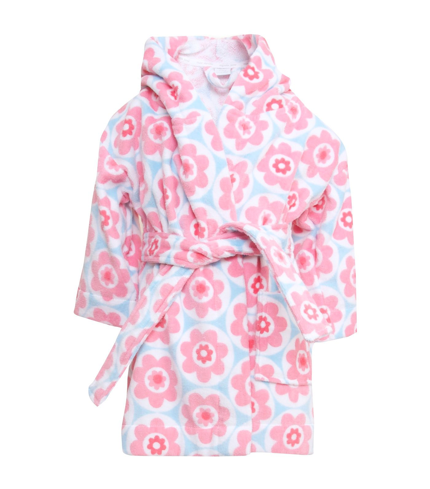Girl`s Hooded Cotton Velour Printed Robe