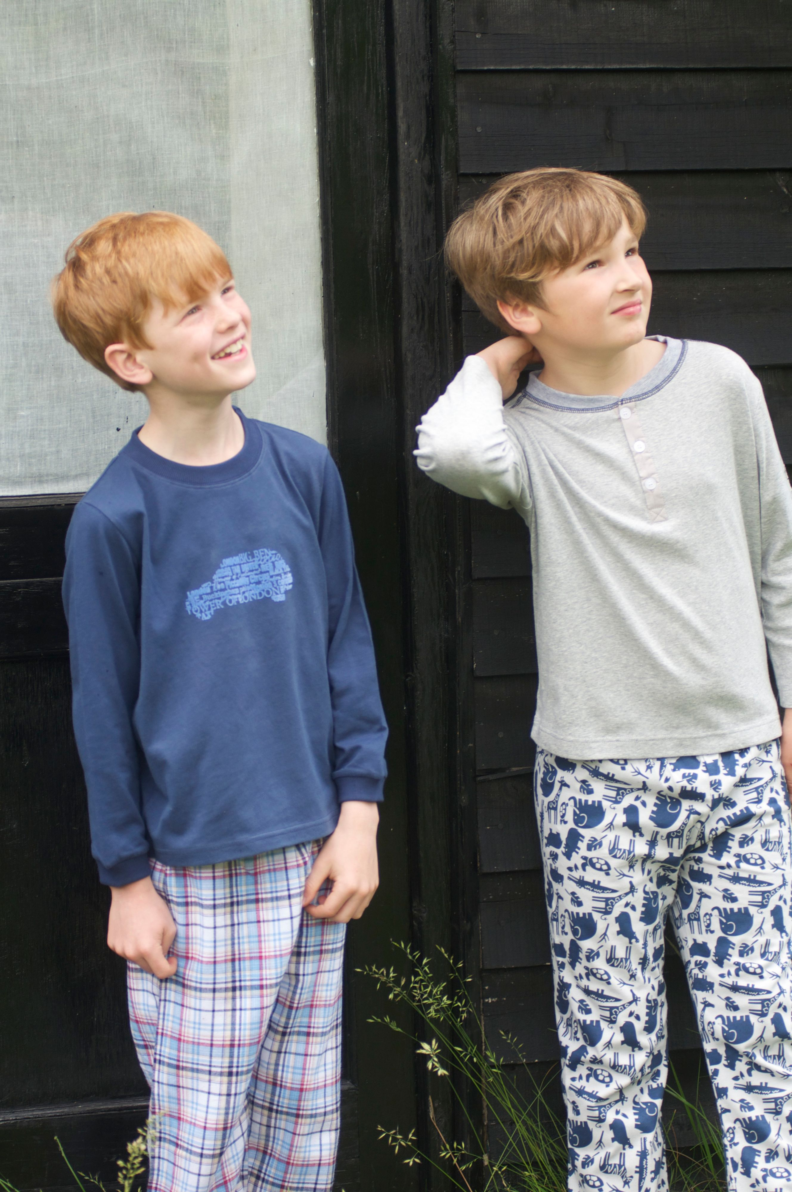 Boy`s lounge pyjamas with woven bottoms top