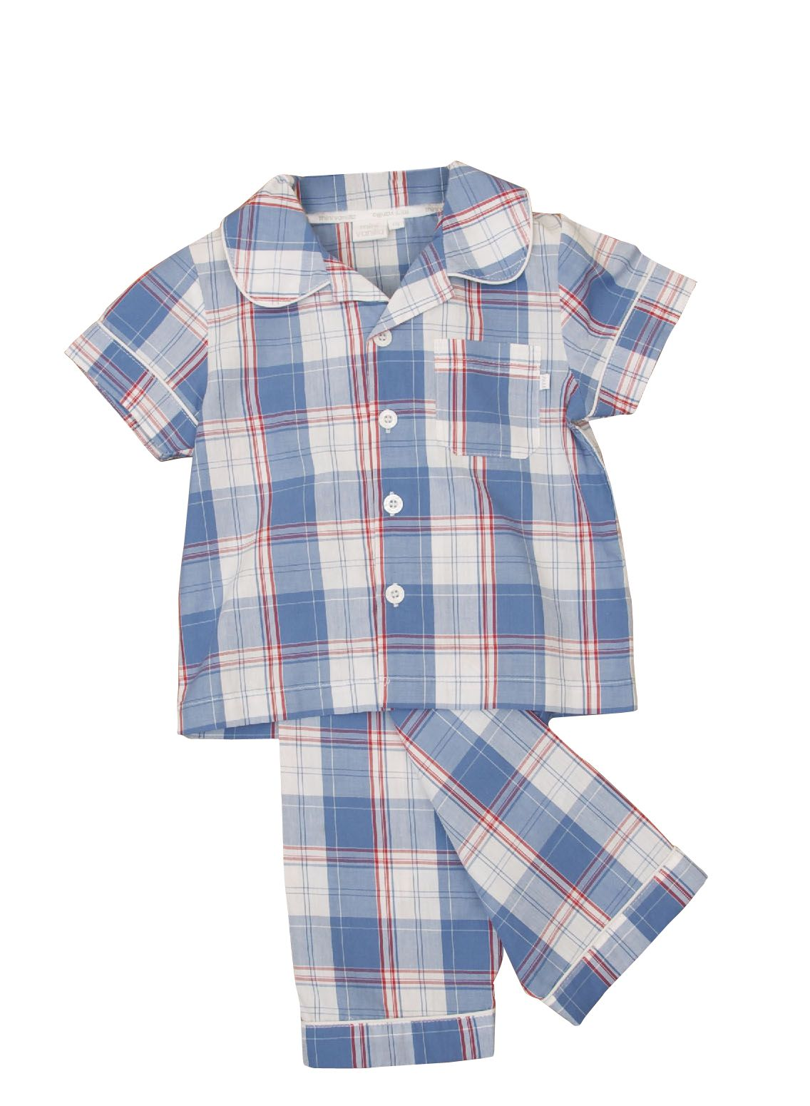 Boy`s traditional woven check pyjamas with matchi