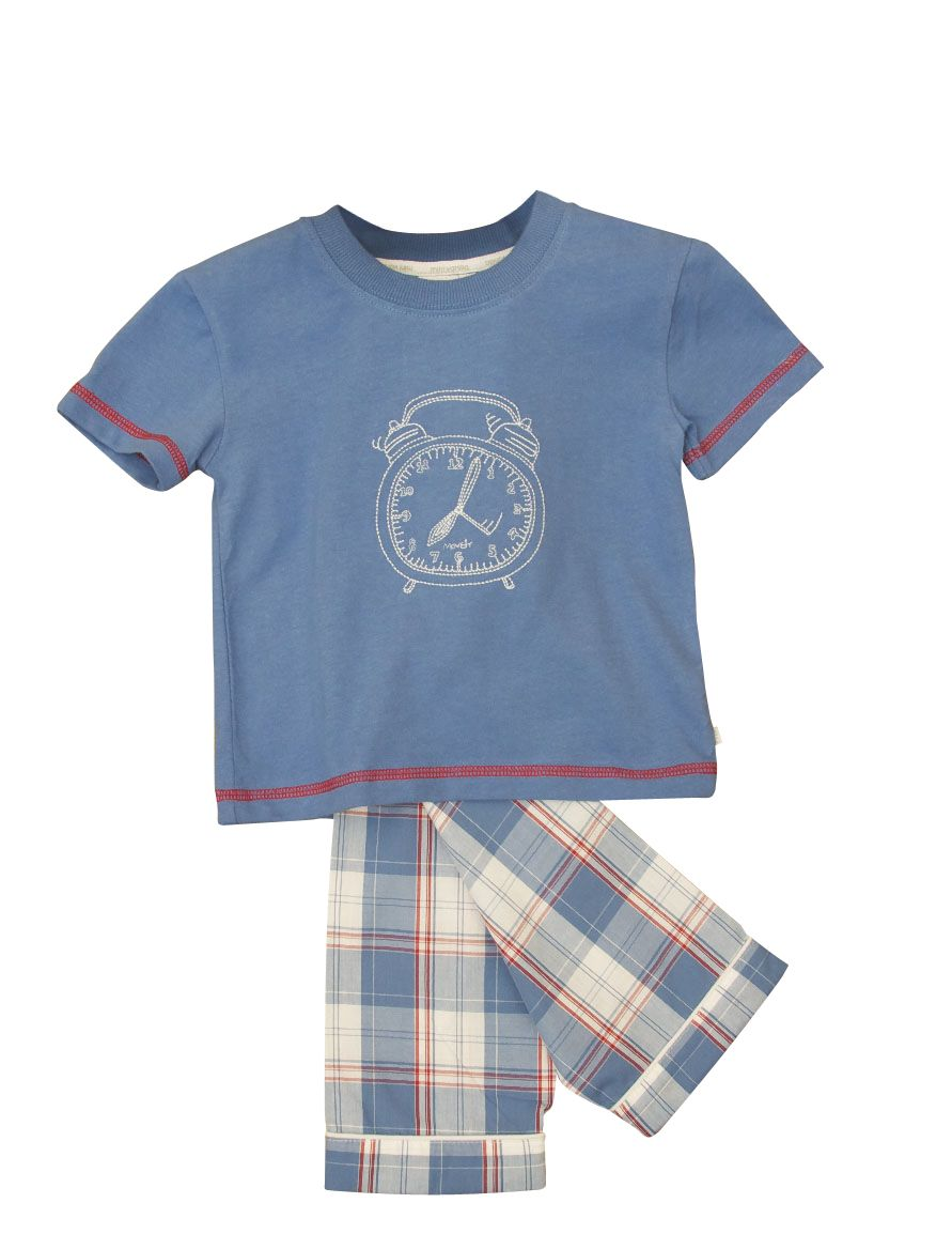 Boy`s short sleeve lounge clock motif pyjamas