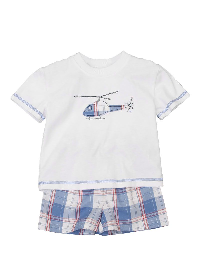 Boy`s shortie helicopter motfi pyjamas